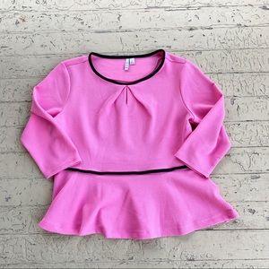 Elle pink peplum shirt 3/4 sleeves